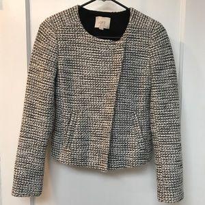 EUC LOFT Black & White Tweed Petite Jacket